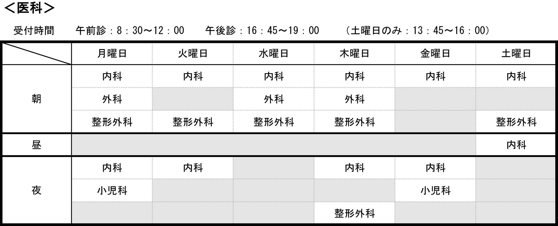 矢田生協医療センター各科の診療予定表